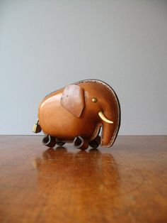 Vintage Leather Elephant Bank / Coin Catcher by luola on Etsy, $68.00