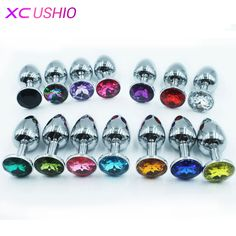 75 * 28mm Metal Mini Anal Sex Toys for Women & Men Stainless Steel Anal Butt Plugs + Crystal Jewelry Booty Beads Sex Products