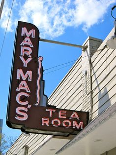 Mary Mac's Tea Room opened in 1945, and servies Southern cuisine. Every morning the workers shuck bushels of corn, hand wash selected greens and snap fresh green beans by hand. Breads and desserts are baked on premises.