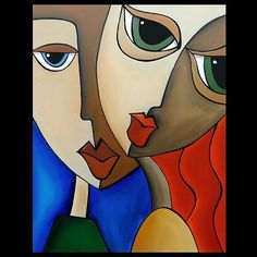 Faces1192 2228 Original Abstract Art Painting Notice Me