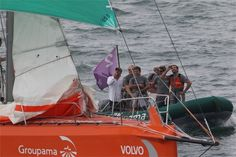 L'arrivée de Groupama 4 à itajai, Brésil. Volvo Ocean Race 2011-2012. 10/04/2012.
