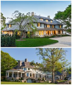 The stone base, painted blue shingle upper story and natural shingle hip roof are Shingle Style hallmarks. Tuscan columns add formality to front porch | Puncturing the classic wood shingle roof are rusticated chimneys constructed of local Connecticut fieldstone. Rear: dynamic wood trellis and exposed rafter tails link the home to the outdoor living space and pool beyond. Lee Ann Thornton was the interior designer for the home and Significant Home was the contractor. Douglas VanderHorn…