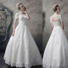 半袖/ビジュー/花柄/レース/ウェディングドレス ホワイト パニエ付き/大きいサイズ(ドレス/結婚式/ウェディング/ブライダル/二次会/パーティードレス)
