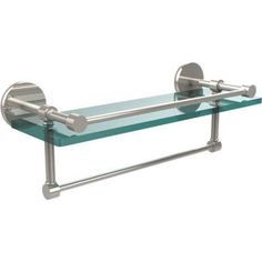 16 inch Gallery Glass Shelf with Towel Bar (Build to Order)