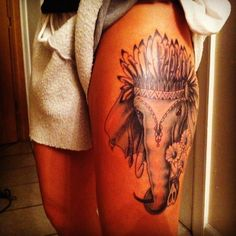 Elephant tattoo with chief Indian headdress - The bravest, wisest and strongest . - Elephant tattoo with chief Indian headdress – The bravest, wisest and strongest person in the Indi - Tattoo Girls, Girl Thigh Tattoos, Tribal Tattoos, Head Tattoos, Trendy Tattoos, Love Tattoos, Tattoos For Guys, Tattoo Thigh, Tribal Henna