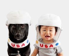 That's one small step for baby, one giant leap for animalkind!  Another adorable photos of Zoey and Jasper by Grace Chon