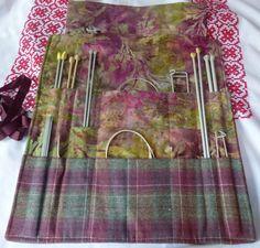 Large Tweed knitting needle roll by TheFabulousMrG on Etsy, $60.00