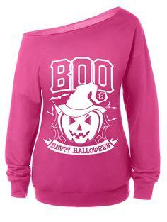 Skew Neck Halloween Sweatshirt