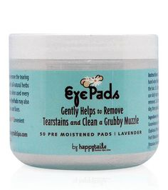 These Happy Tails Eye Pads help remove and prevent tearstains. The pads are pre-moistened and infused with eyebright that helps clean away the discoloration. Made from all natural ingredients including colloidal silver that inhabits the growth of bacteria which causes the stains. A gentle and tearless formula safe for even puppies.  50 x pre-moistened pads   Shop Online - Kaylo Luxury Pet Boutique