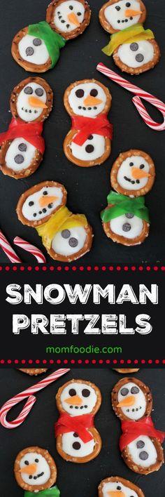 Snowman Pretzel Treats - These little snowman pretzels are cute #Christmas #snowman