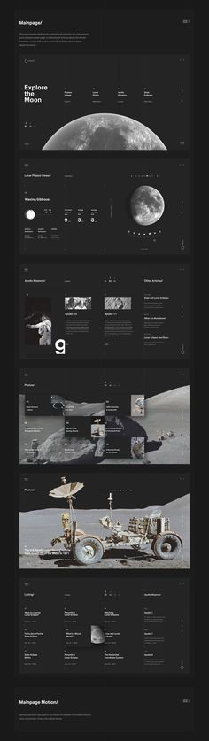 Web Design & UI/UX: Explore the Moon - Fiverr - an online platform for freelancer. Fiverr is also a great place for you to outsource tasks such as writing making a vide creating a logo. - Web Design & UI/UX: Explore the Moon Web Design Trends, Ui Ux Design, Layout Design, Design Sites, Website Design Layout, Web Design Tips, Web Layout, Interface Design, Logo Design