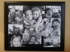 Collage of pictures printed from a black and white printer and glued onto a framed cork board. Black And White Printer, Cork Boards, Crafts With Pictures, Print Pictures, Scrapbooks, Sweet Home, Projects To Try, Collage, Craft Ideas