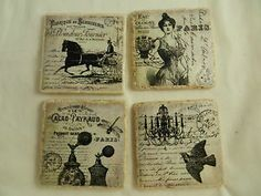 French Vintage Parisian Scene Tile Drink by DesignsofFaithandJoy, Vintage Paris, French Vintage, Coaster Crafts, Grow Together, Handmade Items, Handmade Gifts, Drink Coasters, Baby Items, Parisian