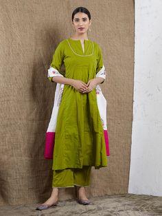 Green Cotton Mulmul Kurta with Pants and White Hand Block Printed Dupatta- Set of 3 Khadi Kurta, Plain Kurti, Suits For Women, Clothes For Women, Kurta With Pants, Kurti Neck Designs, Indian Designer Wear, Cotton Pants, Green Cotton
