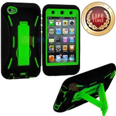 Amazon.com: myLife (TM) Black + Lime Green Tough Series (Body Armor Defender Glove) Case for iPod 4/4S (4G) 4th Generation iTouch (Built In ...