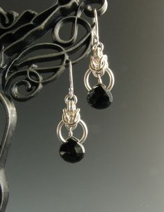 Byzantine Drop Chain Mail Earrings with Black Onyx. $20.00, via Etsy.