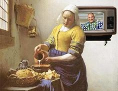 New Dairy Recipe, after Vermeer (detail) Kitchen Maid, Milk The Cow, Johannes Vermeer, No Dairy Recipes, Dutch Artists, Crafty Projects, Picture Show, Oil On Canvas, Fine Art