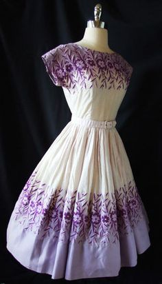 Vtg 40s 50s Cotton Embroidered GARDEN Party DRESS Wedding Cocktail DANCE Swing  Purple-y awesomeness