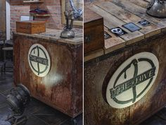 Vintage style shop desk board rustic metal old wood old nails  the hive wood harvest logo and stickers Cracov ul.Szlak 8 A