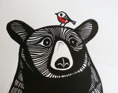 Bear and Robin, Original Linocut Print, Signed Limited Edition of Free Postage in UK, Hand Pulled, Printmaking - This Bear and Robin is an original linocut print (NOT a digitally reproduced print). Linocut Prints, Art Prints, Block Prints, Linoprint, Guache, Bear Art, Art Plastique, Woodblock Print, Screen Printing