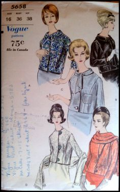 Vogue 5658  Misses' Jackets & Scarf  Bust 38  by ThePatternShopp