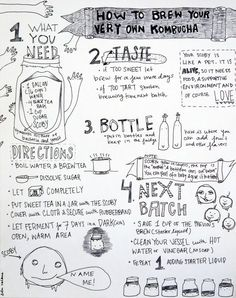 See how a dripping blob of bacteria and yeast makes fizzy, homemade kombucha and bonds a mother and daughter. Liberally illustrated with drawings of Kombucha Killers, Vessel Guide, Friendly Add-Ins, Dangers Signs and Brewing Steps. Kefir Recipes, Veg Recipes, Real Food Recipes, Kombucha Scoby, Kombucha Recipe, Kombucha Mother, Reto Fitness, Kombucha How To Make, Making Kombucha