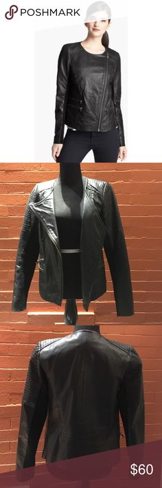 """Trouvé Black Leather Moto Jacket """"Ultra fine topstitching and gleaming gunmetal hardware expertly polish this supple leather jacket while ribbed cotton-blend panels lend flexible comfort to the sleek moto style."""" -via nordstrom.com.  Purchased a few years back and only worn a handful of times. Sadly, it's just not my style. Minor pilling on the cotton paneling. Leather is in perfect condition. Zippers are more of a brass color than silver. Trouve Jackets & Coats"""
