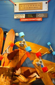 "My parents didn't tell we owned a longboard company! ""Beautiful hand crafted longboards from Erickson Longboards."""
