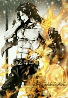 Portgas D. Ace, fire, text; One Piece