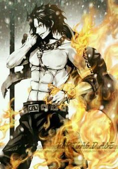 Portgas D. Ace, fire, text; One Piece