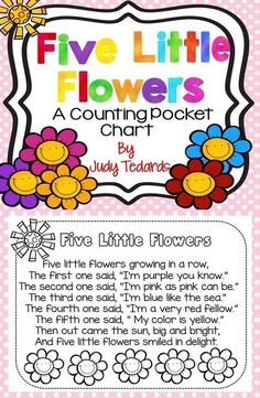 Five Little Flowers is a fun pocket chart activity to use to get ready for Spring. It is also great for young students as they learn their colors and the ordinal numbers (first, second, third, fourth, and fifth. Preschool Garden, Preschool Music, Preschool Learning, Preschool Activities, Preschool Flower Theme, Seeds Preschool, Preschool Teachers, Preschool Colors, Songs For Toddlers