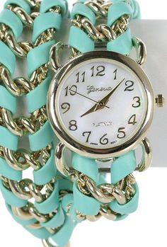 Sincerely Sweet Bracelet - Timely Manner Twist Chain Bracelet Wrap Watch in Mint