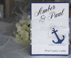 Navy and white nautical themed wedding invitations #nauticalwedding #weddinginvitations