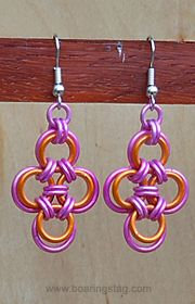 Handcrafted chain-mail earrings...must learn how to do chain mail from my friend Martin