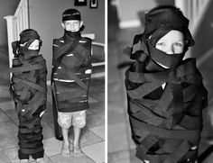Ninja Party game: wrap a ninja race - we just did Ninja masks, but a great idea for a Ninja party.