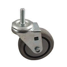 "3"" x 1-1/4"" TPR Rubber on Plastic Ball Bearing Swivel Caster with 1/2-13 x 1-1/2"" Threaded Stem"