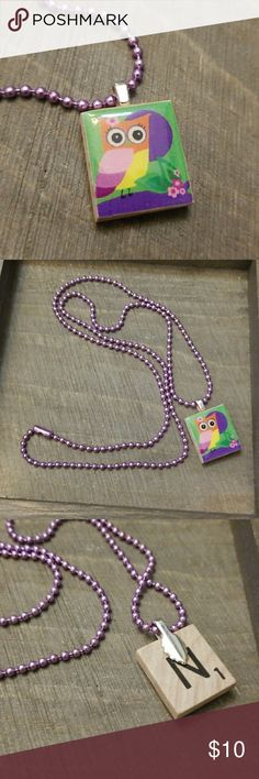 Owl Scrabble Tile Necklace This fun simple Necklace has a Owl with a Purple Ball chain...22 Inches long Ambers Attik Accessories Jewelry