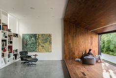 Dan Brunn Architecture renovated Hide Out, a Frank Gehry-designed house in Los Angeles. Frank Gehry, Interior Architecture, Interior Design, Interior Doors, Wooden Staircases, Wooden Stairs, Wood Interiors, Built In Storage, Lounge Areas