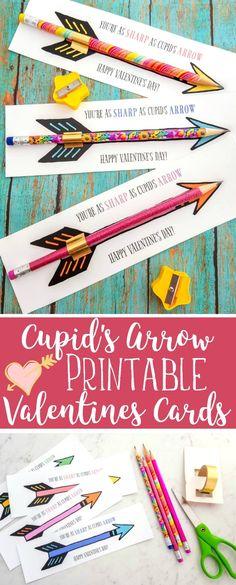 FREE Cupid's Arrow Pencil Printable Valentines Cards #ValentinesDay