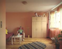 Romanian photographer Bogdan Girbovan took a series of photographs with different people living in identical apartments in the same building. He selected a ten-storey apartment block in Bucharest t… One Room Apartment, First Apartment, Tiny Studio Apartments, Hits Close To Home, Inside A House, Unique Furniture, Living Spaces, Flooring, Design