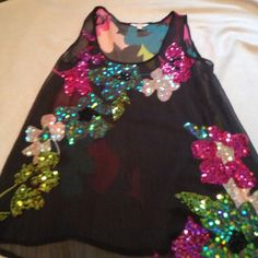 ❤️sheer tank with sequins worn once Colorful tank with sequins. Worn once! Candie's Tops Tank Tops