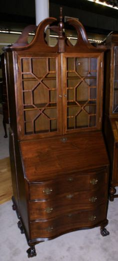 Serpentine Front Mahogany Antique Secretary Desk. The Exact One I Have!