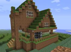 More cool Minecraft Dirt house ideas>>>This is a great use for dirt, the grass looks awesome!