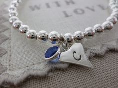 Swarovski Birthstone and Sterling Silver Charm Bead Bracelet