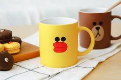 SNS LINE FRIENDS SALLY Chick Character Face Ceramic Coffee Mug Cup S1 10.82oz #LINEFRIENDS #Mug