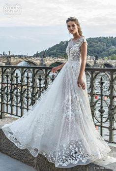 helena kolan wedding dresses 2019 a line with cap sleeves lace 2019 Tulle Wedding Dresses, Unusual Wedding Dresses, Dresses Elegant, Sheer Wedding Dress, Wedding Dress Sleeves, Long Sleeve Wedding, Wedding Dress Styles, Bridal Gowns, Wedding Gowns