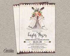 Boho Couples Shower Invitation | DIY Printable Bohemian Wedding Shower Invitations With Tribal Watercolor Teepee | Tent Bridal Shower Invite by iDesignStationery on Etsy