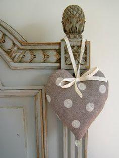 ~ Polka Dot Heart on French Grey Linen ~