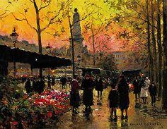 """""""Marche aux Fleurs"""" painted by Edouard Leon Cortes."""