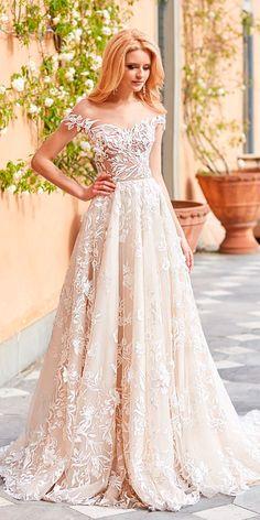 Oksana Mukha Wedding Dresses 2018 ❤ oksana mukha wedding dresses 2018 a line sweetheart neck off the shoulder lace ❤ See more: http://www.weddingforward.com/oksana-mukha-wedding-dresses-2018/ #weddingforward #wedding #bride